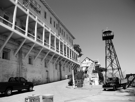 ALCATRAZ PRISON, SAN FRANCISCO, US - JUNE 2005  A view of the prison dock with guard tower on June 27, 2005 in Alcatraz Island, US  Which was used from 1933 until 1963 Stock Photo - 19739023