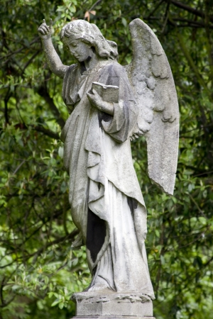 Angel with hand raised and bible photo