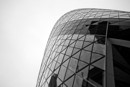 LONDON - SEPTEMBER 21  The modern glass buildings of the 30 St Mary Axe, Swiss Re, Gherkin September 21, 2013, during the annual Open House event in London, UK  This tower is 180 meters tall, completed in 2003  Architect is Sir Norman Foster
