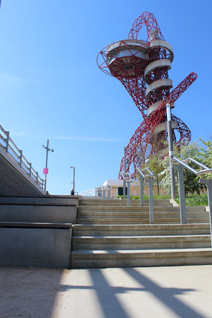 anish: LONDON - APRIL 5  The Arcelor Mittal Orbit from the Olympic Games, designed by Anish Kapoor and Cecil Balmond  Queen Elizabeth Olympic Park on April 5, 2014, opening day of the new public area in Stratford, London, UK  Editorial