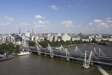 Hungerford Bridge over the River Thames in London 写真素材