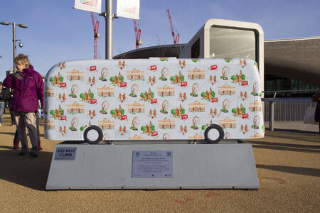 paralympic: LONDON - JANUARY 24. Year of the Bus exhibition with 60 decorative bus models, January 24, 2015; this one named Cath Kidston located at Queen Elizabeth Olympic Park, London, UK.
