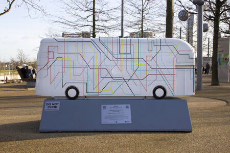 paralympic: LONDON - JANUARY 24. Year of the Bus exhibition with 60 decorative bus models, January 24, 2015; this one named Journey to Anywhere located at Queen Elizabeth Olympic Park, London, UK.