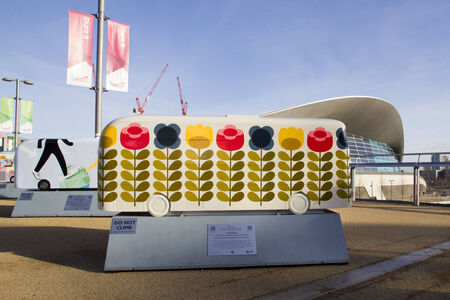 orla: LONDON - JANUARY 24. Year of the Bus exhibition with 60 decorative bus models, January 24, 2015; this one named Orla Kiely located at Queen Elizabeth Olympic Park, London, UK.