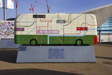 tunnel vision: LONDON - JANUARY 24. Year of the Bus exhibition with 60 decorative bus models, January 24, 2015; this one named Tunnel Vision located at Queen Elizabeth Olympic Park, London, UK.