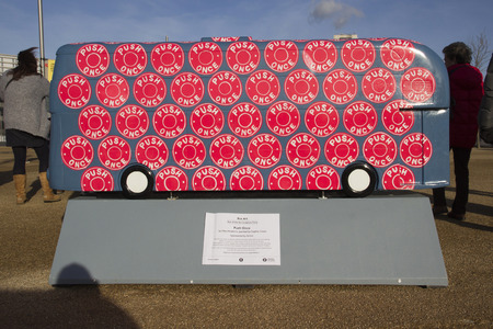 paralympic: LONDON - JANUARY 24. Year of the Bus exhibition with 60 decorative bus models, January 24, 2015; this one named Push Once located at Queen Elizabeth Olympic Park, London, UK.