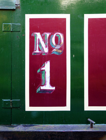 no1: No.1 detail from canal boat, Camden, London Stock Photo