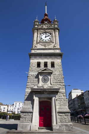 places of interest: MARGATE, UK - AUG 8, 2015. The clock tower officially opened 24 May 1889 Queen Victorias 70th Birthday. The copper timeball was recently restored for Queen Elizabeth II Diamond Jubilee.