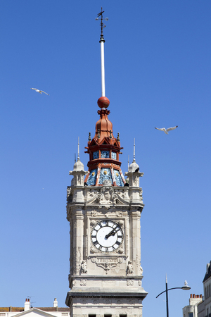 recently: MARGATE, UK - AUG 8, 2015. The clock tower officially opened 24 May 1889 Queen Victorias 70th Birthday. The copper timeball was recently restored for Queen Elizabeth II Diamond Jubilee.