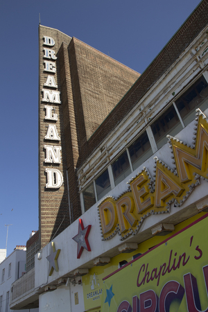 dreamland: MARGATE, KENT, UK - JUNE 5, 2014. The iconic Dreamland sign at Margate. Dreamland has recently reopened featuring heritage rides from a number of UK sites. Editorial
