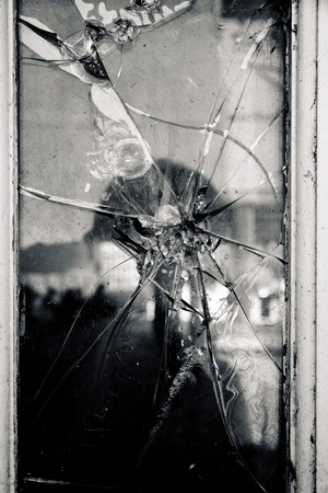 splintered: Broken Glass Window Stock Photo