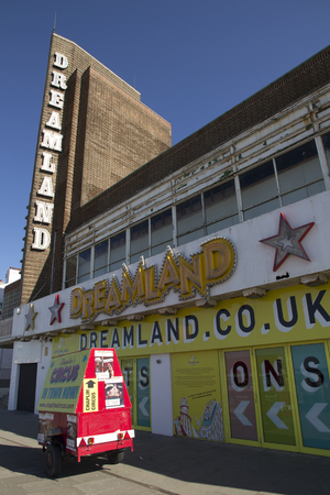 rides: MARGATE, KENT, UK - JUNE 5, 2014. The iconic Dreamland sign at Margate. Dreamland has recently reopened featuring heritage rides from a number of UK sites. Editorial