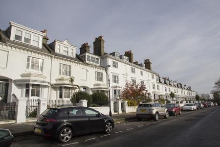 residential: BRIGHTON, SUSSEX UK 13 October 2016: Brighton street of terraced hous