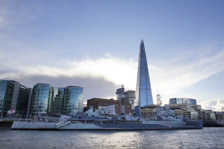 LONDON, UK - MAY 20, 2017. London cityscape across the River Thames with a view of HMS Belfast Warship Museum and The Shard, London, England, UK, May 20, 2017. Redakční