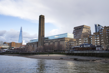 LONDON, UK - MAY 20, 2017. London cityscape across the River Thames with a view of the Shard and Tate Modern, London, England, UK, May 20, 2017.