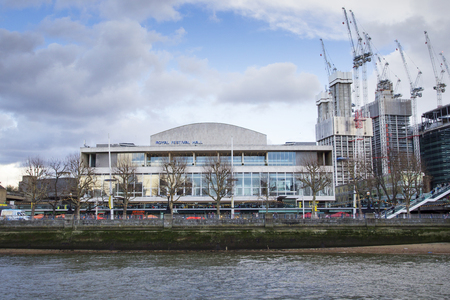 LONDON, UK - MAY 20, 2017. Royal Festival Hall On the Southbank seen from the River Thames, London, England, UK, May 20, 2017.