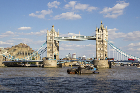 LONDON, UK - SEPTEMBER 1, 2018. London cityscape across the River Thames with a view of Tower Bridge, London, England, UK, September 1, 2018