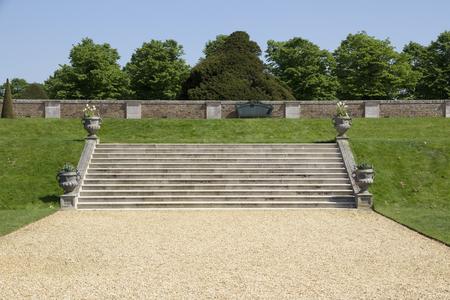 LONDON, UK - May 11, 2018. Stone steps at Hampton Court Palace which was originally built for Cardinal Thomas Wolsey 1515, later became King Henry VIII residence. London, Uk - May 11, 2018 Sajtókép