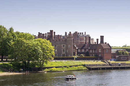LONDON, UK - May 11, 2018. Hampton Court Palace which was originally built for Cardinal Thomas Wolsey 1515, later became King Henry VIII residence. London, Uk - May 11, 2018
