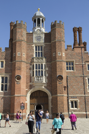 LONDON, UK - May 11, 2018. Courtyard at Hampton Court Palace which was originally built for Cardinal Thomas Wolsey 1515, later became King Henry VIII residence. London, Uk - May 11, 2018