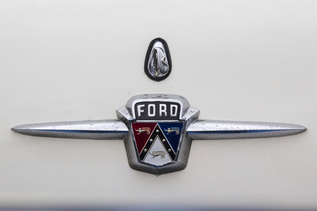 LONDON, ENGLAND - April 28, 2018. 1956 Ford Pontiac at the annual Classic Car Exhibition and Vintage Clothing Market at Kings Cross, London, England, April 28, 2018. Redakční