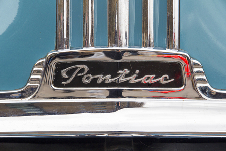 LONDON, ENGLAND - April 28, 2018. 1951 Ford Pontiac Eight at the annual Classic Car Exhibition and Vintage Clothing Market at Kings Cross, London, England, April 28, 2018.