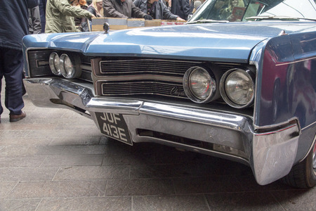 LONDON, ENGLAND - April 28, 2018. 1966 Chrysler 300 at the annual Classic Car Exhibition and Vintage Clothing Market at Kings Cross, London, England, April 28, 2018.