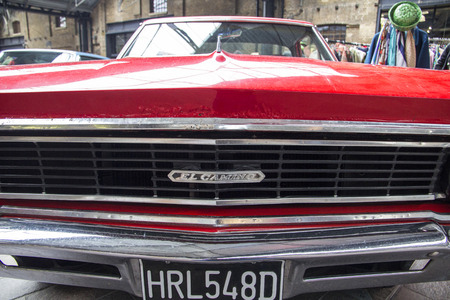 LONDON, ENGLAND - April 28, 2018. 1966 Red El Camino Ford Chevrolet at the Annual Classic Car Exhibition and Vintage Clothing Market at Kings Cross, London, England, April 28, 2018.