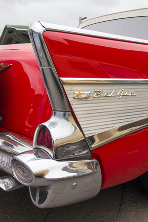 LONDON, ENGLAND - April 28, 2018. 1957 Ford Chevrolet Bel Air GMC at the annual Classic Car Exhibition and Vintage Clothing Market at Kings Cross, London, England, April 28, 2018. Editorial