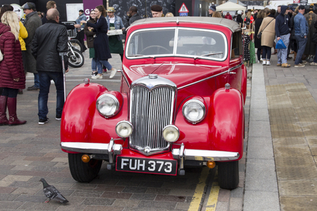 LONDON, ENGLAND - April 28, 2018. 1951 Riley at the annual Classic Car Exhibition and Vintage Clothing Market at Kings Cross, London, England, April 28, 2018.