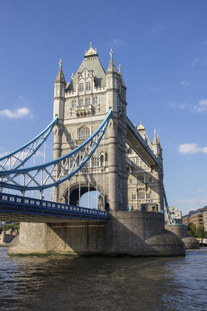 London cityscape across the River Thames with a view of Tower Bridge, London, England, UK