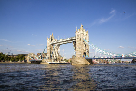 View of Tower Bridge on the River Thames opening for the Lord Nelson. London, England, UK, September 1, 2018 Reklamní fotografie - 120299240