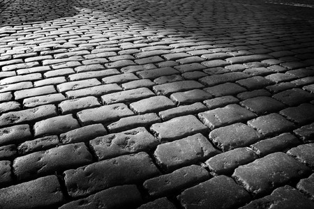 Cobblestone background with long shadows at sunset, London Banque d'images - 120307944