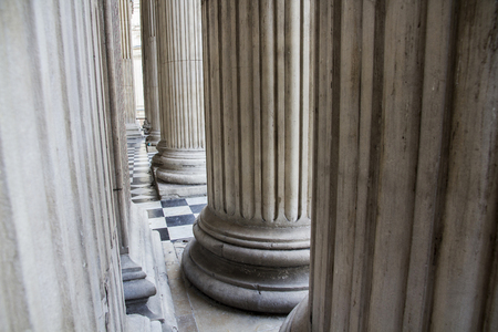 Columns at the entrance of St Pauls Cathedral, London, England, UK