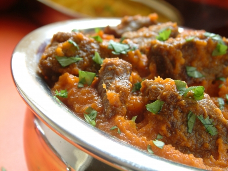 beef curry: traditional Indian Beef curry in bowl