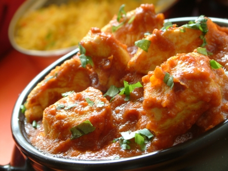 indian meal: traditional Indian chicken bhuna curry
