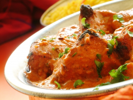 Traditional Tandoori Chicken tikka massala in bowl photo