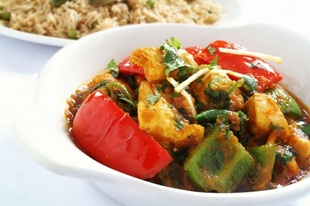 traditional Indian chicken jalfrezi curry