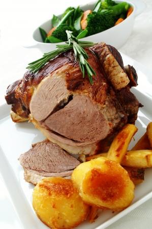 roast leg of lamb with seasonal vegetables
