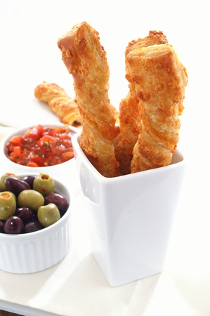 baked cheese straws with accompaniments