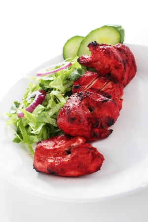 indian food: Indian Chicken Tikka Kebab Flame Grilled Stock Photo