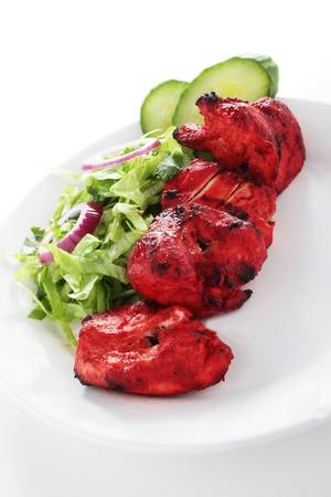 pakistani food: Indian Chicken Tikka Kebab Flame Grilled Stock Photo