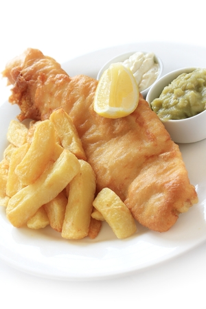 chippy: traditional fish and chip supper dinner
