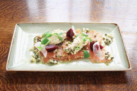 plated: gravlax salmon plated