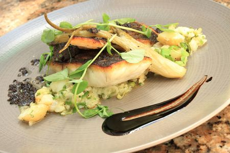 seabass: seabass plated meal
