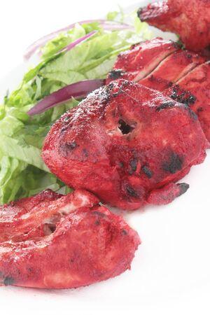 kebob: Indian Chicken Tikka Kebab Flame Grilled Stock Photo