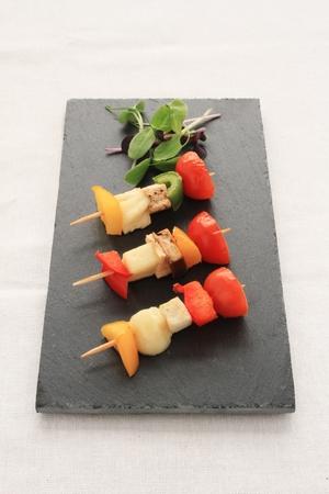 canape: vegetable kebab canape