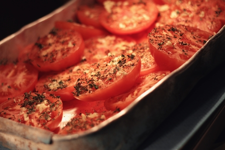 preperation: cooked tomatoes in kitchen