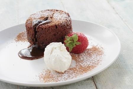 plated: plated chocolate fondant cake