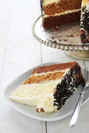 layer cake: large chocolate layer cake Stock Photo
